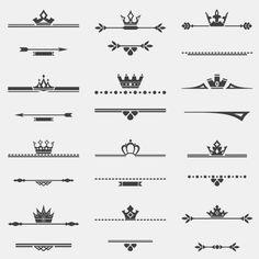 Ornamentos con coronas Vector Gratis