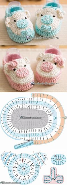 Bootees with pigs a hook. Schemes of knitting Crochet Pig, Crochet Baby Boots, Baby Girl Crochet, Diy Crochet, Easy Knit Baby Blanket, Knitted Baby Blankets, Crochet Blanket Patterns, Baby Patterns, Baby Knitting