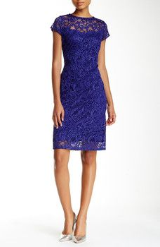 Marina - Cap Sleeve Lace Sheath Dress