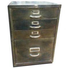 £395 Polished Metal 4 Drawer Filing Cabinet H 69 x W 47 x D 47cm