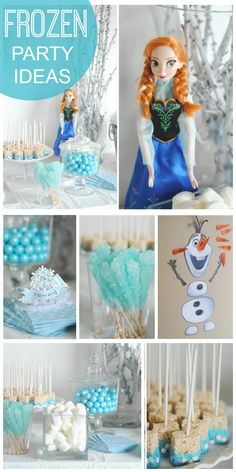 Snowflakes and snowmen are featured at this lovely Frozen party!  See more party ideas at CatchMyParty.com!