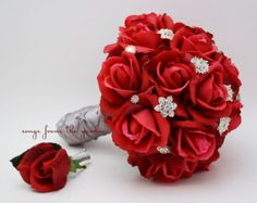 RED AND SILVER wedding reception centerpieces flowers - Google Search