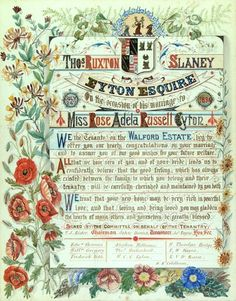 Illuminated Address to Thomas Ruxton Slaney Eyton on the occasion of his marriage to Miss Rose Adela Russell Eyton July 24th 1894 from the tenants of the Walford Estate.