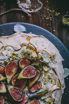 Pistachio and Rose Water Pavlova with Greek Yogurt, Honey, and Figs | Adventures in Cooking by Eva Kosmas Flores