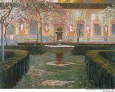 En su tercera estancia en Granada pintó los jardines abandonados del Palacio de Víznar. #CasasRusiñol
