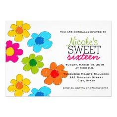 Cute colorful flowers Sweet 16 Invitation