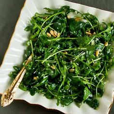 Baby Arugula Salad by kalynskitchen: With lemon, balsamic vinegar, parmesan and pine nuts.  #Salad #Arugula #kalynskitchen