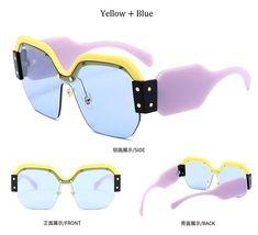 Classic half frame polarized semi-borderless sunglasses retro metal female men driving (93)