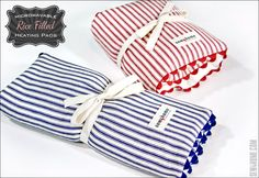 Microwaveable Rice Heating Pads--flys out of craft sales when you use local sports team print fabric Sewing Hacks, Sewing Tutorials, Sewing Patterns, Sewing Tips, Fabric Crafts, Sewing Crafts, Sewing Projects, Rice Heating Pads, Rice Bags