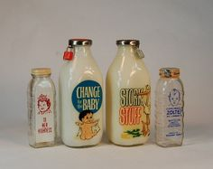 """4 Glass Bottle Banks: """"Stork Stuff"""" """"Change for the Baby"""" """"To Her Highness"""""""