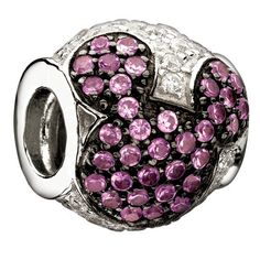 Chamilia Disney Collection- Jeweled Mickey- Pink and Clear CZ