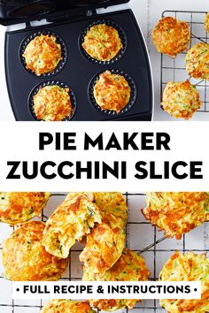 Cooked in a Kmart pie maker in just 15 minutes, these quick and easy muffins taste exactly like zucchini slice, perfect for the kids' lunchboxes. Mini Pie Recipes, Quiche Recipes, Appetizer Recipes, Yummy Recipes, Breville Pie Maker, Vegetarian Recipes, Cooking Recipes, Easy Cooking, Mini Pies