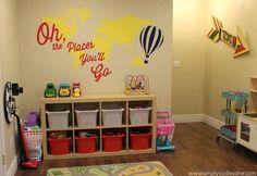 Love this playroom from Simply Sadie jane Playroom Storage, Storage Spaces, Playroom Ideas, Basement Ideas, Nursery Ideas, Bin Storage, Playroom Decor, Play Spaces, Kid Spaces
