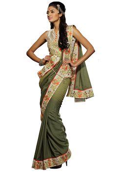 Regal Look Fancy Mahendi Color Party ware saree
