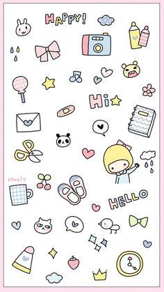 Cute Easy Drawings, Cute Kawaii Drawings, Bullet Journal Banner, Bullet Journal Art, Cartoon Stickers, Cute Stickers, Doodle Drawings, Doodle Art, Good Notes