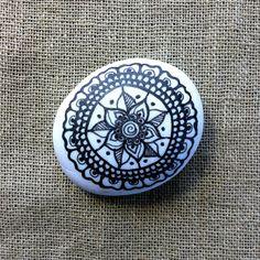 Mandala Painted White Pebble