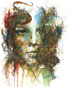 Dazzling portraits painted with ink and tea by Carne Griffiths