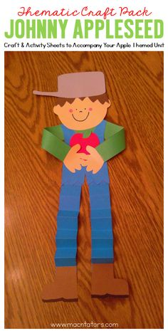Johnny Appleseed Craft and Activity Pack...this craft is the perfect addition to an apple unit or for Johnny Appleseed Day.