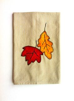 Buy Thanksgiving Halloween Fall Autumn Leaves Applique Kitchen Towel, Dish Towel, Hand Towel, Tea Towel by rkymtncrafts. Explore more products on http://rkymtncrafts.etsy.com
