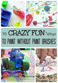 Have fun painting without paintbrushes with these crazy fun ideas from LalyMom! Check out these 35 painting activities. Unleash the creativity of your children with these painting activity ideas! These fun ideas would be great for a fun afternoon! Kids will love painting in a different way. Try any one of these activities - painting with ice cubes, with marbles, with cars, or with feet. Crafts To Do, Crafts For Kids, Arts And Crafts, Paper Crafts, Summer Activities For Kids, Preschool Activities, Motor Activities, Snail Craft, Painting Activities
