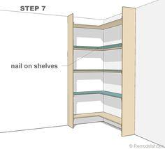 step 7 - corner bult-in bookshelves Corner Shelf Design, Diy Corner Shelf, Corner Storage, Corner Desk, Book Storage, Corner Bookshelves, Library Bookshelves, Built In Shelves, Bookcases