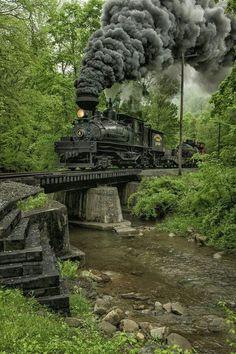 Shaw Steam Locomotive crossing a creek bridge in West Virginia. Train Tracks, Train Rides, Locomotive Diesel, Steam Locomotive, Train Miniature, Train Pictures, Old Trains, Steam Engine, Train Station