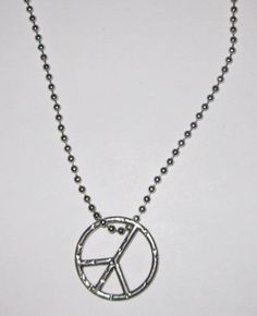 Silver Long Peace Sign Dangle Necklace 24 in | eBay