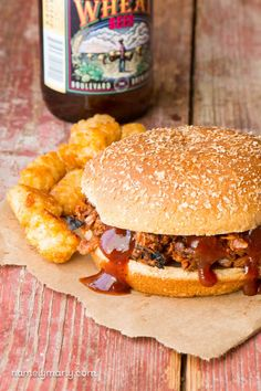 Enjoy this easy to make Slow Cooker BBQ Pulled Jackfruit on a bun with coleslaw on the side. You'll be so surprised how closely it mimics the other stuff!
