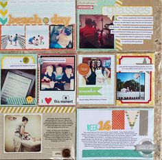 Scrapbook page layouts simplified with one-week layouts! Good idea if you're behind in your scrapping and you can fit a months worth of activity on one page!