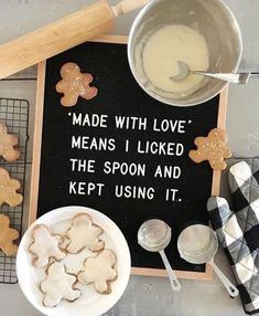 """Felt Board Quotes """"Made with love means I licked the spoon and kept using it!"""" Creative Felt Board Quotes and Funny Felt Board Ideas.""""Made with love means I licked the spoon and kept using it!"""" Creative Felt Board Quotes and Funny Felt Board Ideas. Felt Letter Board, Felt Letters, Felt Boards, Funny Letters, Word Board, Quote Board, Message Board, Quotes Valentines Day, Meaning Of Love"""