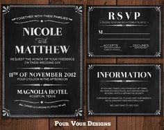 Chalkboard Wedding Invitation  Black & White  by PourVousDesigns, $30.00