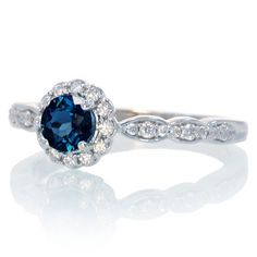 Sapphire 5mm round halo diamond engagement ring vintage accent