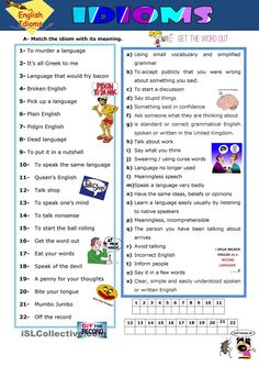 Mind joggers: idioms worksheet - Free ESL printable worksheets made by teachers English Idioms, English Fun, English Lessons, English Vocabulary, Learn English, English Grammar, English Resources, English Class, English Language Learning