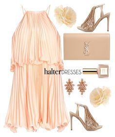 """Halter dress"" by rasa-j ❤ liked on Polyvore featuring Yves Saint Laurent, Accessorize, Kendall + Kylie and halterdresses"
