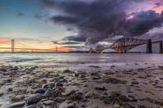 The view of the Forth Bridges at South Queensferry, Edinburgh. Scenic drive Edinburgh to St. Scotland Tours, Scotland Travel, Edinburgh Scotland, The Places Youll Go, Places To See, Scotland Landscape, Day Trips, Beautiful Places, National Parks