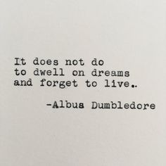 Harry Potter Dreams Quote Albus Dumbledore Typed on   Etsy