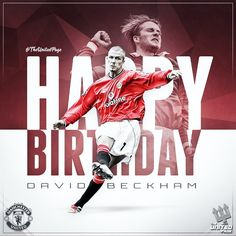 Happy birthday to one of my favourite players to ever wear the United shirt, David Beckham! 🙌🏻 What a legend 🔴 David Beckham, Manchester United, Happy Birthday, The Unit, Graphics, My Favorite Things, How To Wear, Shirts, Poster