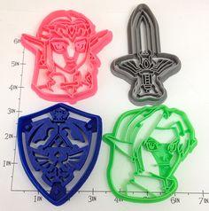 The Legend of Zelda, 4 cutters set n°2 - Shield Master Sword Link and Zelda, by WarpZone.