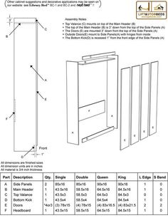 Plans of Woodworking Diy Projects - Murphy Bed Cut List Get A Lifetime Of Project Ideas & Inspiration! Diy Murphy Bed Kit, Murphy Bed Plans, Murphy Beds, Build A Murphy Bed, Murphy Bed Mechanism, Cama Murphy, Murphy Bed Hardware, Bed Lifts, Diy Bett