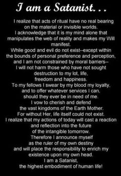 I am a Satanist
