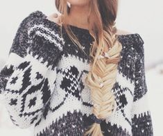 Winter sweater + great braid.