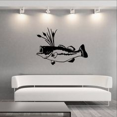 """Wall Decal Bass Fish with Cattails Vinyl Wall Decal Graphic Sticker 22312 This decal measures approx. 22""""H x 30.5""""W. The color samples shown have been reproduced and may vary slightly from actual colo"""