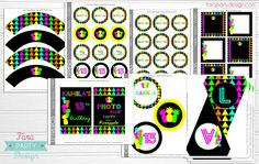 NEON PINEAPPLE PARTY COLLECTION by FARA PARTY DESIGN ETSY SHOP
