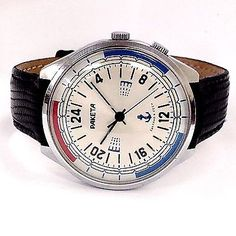 Vintage Paketa Submarine Radio Room Hand Wind USSR Leather Band Men's Watch