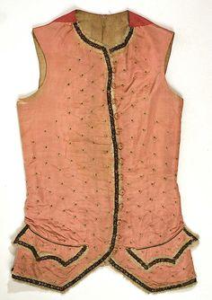 Waistcoat 1780, European, Made of silk, wool, cotton and linen