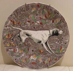VINTAGE GIEN RAMOUILLET FRANCE 1960-1971 HUNTING SPORTING DOG SERIES PLATE #Gien Hunting, Pottery, France, Plates, Dogs, Vintage, Ceramica, Licence Plates, Dishes