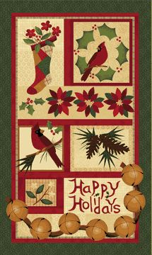 Wintersong by Cheryl Haynes for Benartex. Ruby red cardinals, fragrant pinecones, lush poinsettias, and the jingle of sleigh bells are all charmingly captured in this wonderful new line. The panel has an applique look of winter motifs.