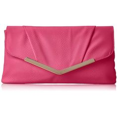 Jessica McClintock Hiss Envelope Clutch ($19) ❤ liked on Polyvore featuring bags, handbags, clutches, chain handbags, jessica mcclintock purse, envelope clutch, pink clutches and chain purse
