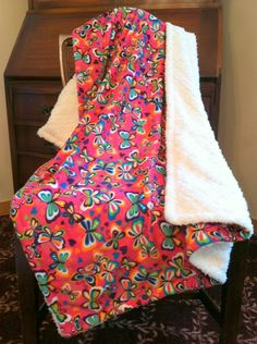 2014 Columbus Fall Avant-Garde Art & Craft Show Vendor: Minky Butterfly Baby Blanket  Hot Pink by DesignsByDiBlankets