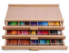 A wooden storage box for coloring book lovers to keep their colored pencils in.